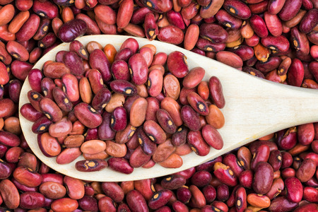 leguminosae: Raw red beans and a rustic wooden spoon Stock Photo