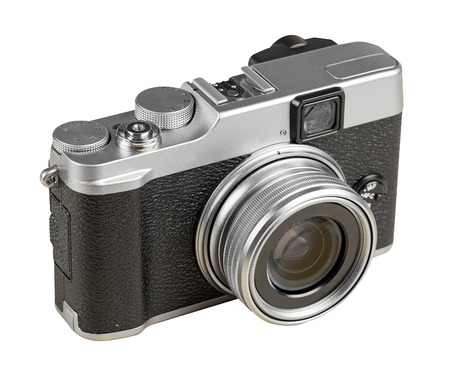 rangefinder: Vintage rangefinder style camera isolated on white with clipping path Stock Photo