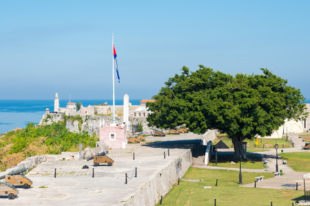 View of the spanish castles of La Cabana and El Morro facing the city of Havana in Cuba photo