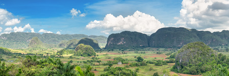 Panoramic view of the Vinales Valley, a cuban natural landmark famous for its beauty and its tobacco plantations photo