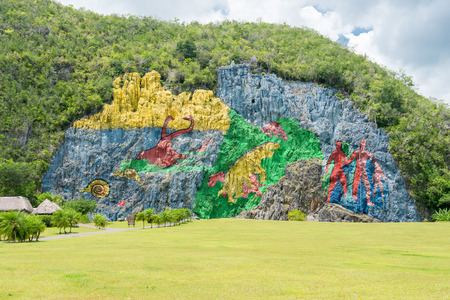 Paintings at the Prehistory Mural in the Vinales Valley, Cuba