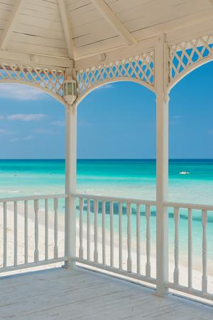 hotel balcony: View of Varadero beach in Cuba from a beautiful wooden terrace