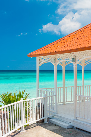 balcony view: Beautiful wooden terrace with a view of Varadero beach in Cuba Stock Photo