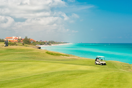 Varadero beach in Cuba with the golf course in the foreground