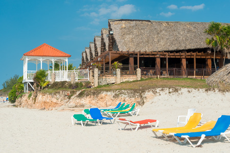 Seaside restaurant and beach beds on the beautiful Varadero beach in Cuba