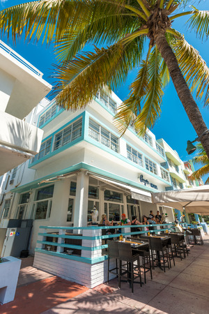 MIAMI,USA - MAY 21,2014 : Ocean Drive hotels and buildings in Miami Beach, Florida. Art Deco architecture in South Beach is one of the main tourist attractions in Miami Stock Photo - 28690506