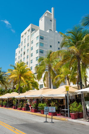 MIAMI,USA - MAY 21,2014 : Ocean Drive hotels and buildings in Miami Beach, Florida. Art Deco architecture in South Beach is one of the main tourist attractions in Miami Stock Photo - 28690519