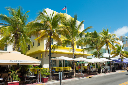 MIAMI,USA - MAY 21,2014 : Ocean Drive hotels and buildings in Miami Beach, Florida. Art Deco architecture in South Beach is one of the main tourist attractions in Miami Stock Photo - 28690520