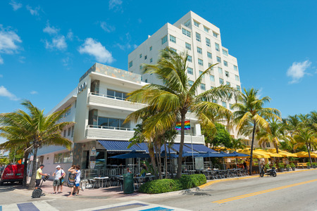 MIAMI,USA - MAY 21,2014 : Ocean Drive hotels and buildings in Miami Beach, Florida. Art Deco architecture in South Beach is one of the main tourist attractions in Miami Stock Photo - 28690527