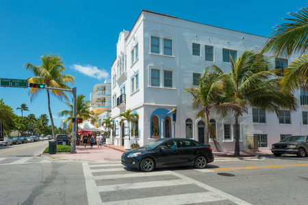 MIAMI,USA - MAY 21,2014 : Ocean Drive hotels and buildings in Miami Beach, Florida. Art Deco architecture in South Beach is one of the main tourist attractions in Miami Stock Photo - 28690533