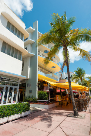 MIAMI,USA - MAY 21,2014 : Ocean Drive hotels and buildings in Miami Beach, Florida. Art Deco architecture in South Beach is one of the main tourist attractions in Miami Stock Photo - 28690537