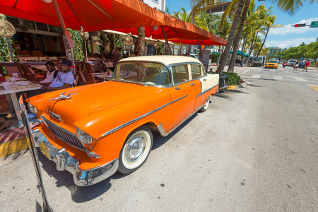 MIAMI,USA - MAY 21,2014 : Vintage car parked at Ocean Drive in Miami Beach, Florida. Art Deco architecture in South Beach is one of the main tourist attractions in Miami Stock Photo - 28690540