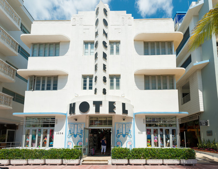 MIAMI,USA - MAY 21,2014 : Ocean Drive hotels and buildings in Miami Beach, Florida. Art Deco architecture in South Beach is one of the main tourist attractions in Miami Stock Photo - 28690542