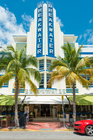 MIAMI,USA - MAY 21,2014 : Ocean Drive hotels and buildings in Miami Beach, Florida. Art Deco architecture in South Beach is one of the main tourist attractions in Miami Stock Photo - 28690558
