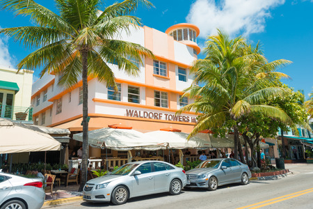 MIAMI,USA - MAY 21,2014 : Ocean Drive hotels and buildings in Miami Beach, Florida. Art Deco architecture in South Beach is one of the main tourist attractions in Miami Stock Photo - 28690561
