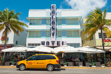 MIAMI,USA - MAY 21,2014 : The Colony Hotel at Ocean Drive in Miami Beach, Florida. This famous Art Deco building in South Beach is one of the photographed attractions in Florida