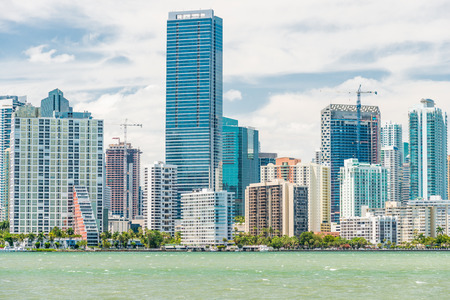 The skyline of Miami photographed from the bridge to Key Biscayne photo