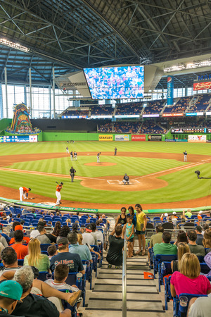 baseball crowd: The Miami Marlins play the Atlanta Braves in a game of the Eastern Division of Major League Baseball National League Editorial