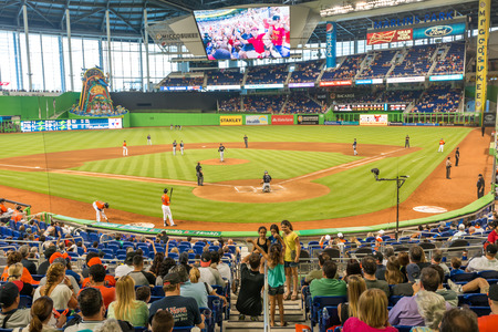 The Miami Marlins play the Atlanta Braves in a game of the Eastern Division of Major League Baseball National League Editorial