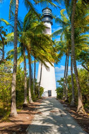 key biscane: Faro famoso en el cabo Florda en el extremo sur de Key Biscayne, Miami Foto de archivo