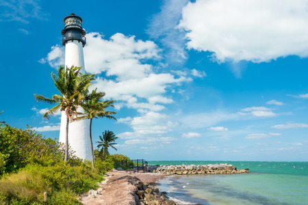 Famous lighthouse at Cape Florda in the south end of Key Biscayne , Miami 스톡 콘텐츠