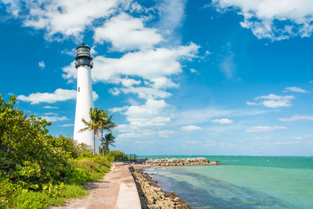 Famous lighthouse at Cape Florda in the south end of Key Biscayne , Miami