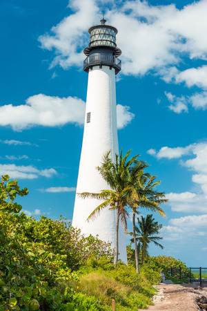 Famous lighthouse at Cape Florda in the south end of Key Biscayne , Miami photo