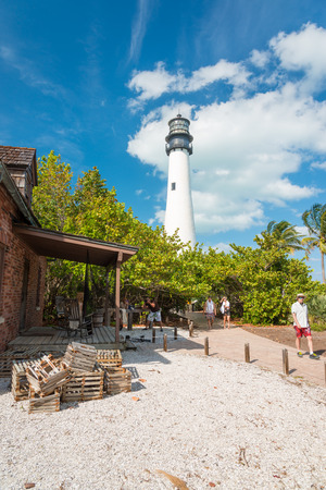 Tourists visit the lighthouse at Key Biscayne, a famous Florida landmark photo
