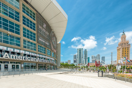 american airlines: The American Airlines Arena, home of the Miami Heat professional basketball team with a view of Downtown Miami