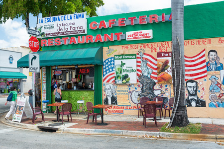 Typical cuban restaurant serving mojitos in Little Havana, Miami