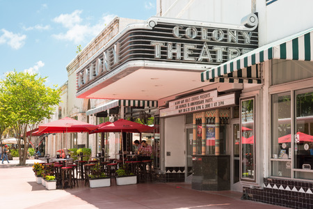 south beach: The famous Colony Theatre at the  Lincoln Road Boulevard in Miami Beach