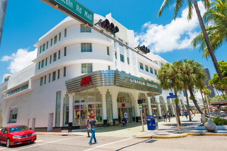 MIAMI,USA - MAY 20,2014   Tourists and shoppers at the Lincoln Road Boulevard in South Beach