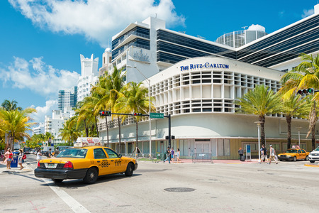 Famous Art Deco Hotels at the corner of Lincoln Road Boulevard and Collins Avenue in South Beach