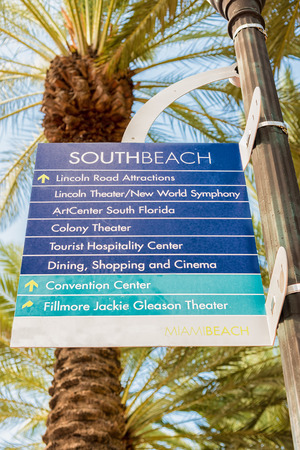Street sign with directions to tourist landmarks in South Beach, Miami