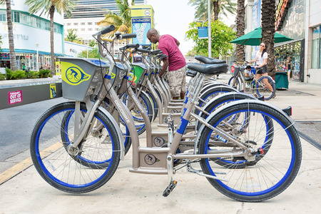 Bicycles for rent as part of the Decobike program in Miami Beach