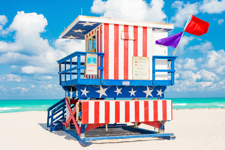 lifeguard tower: Lifeguard tower in South Beach, Miami with the colors of the american flag