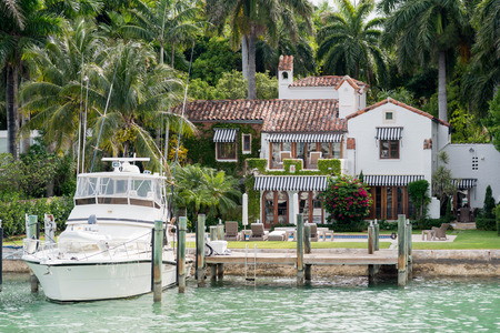 Luxurious mansion by the seaside on Star Island, Miami, home of the rich and famous