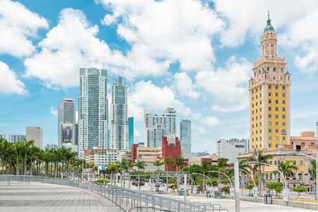 Modern skyscrapers in Biscayne Bolevard and the Freedom Tower in downtown Miami Editorial