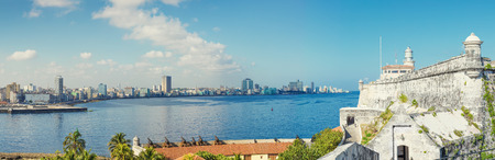 The skyline of Havana with El Morro castle on the foreground