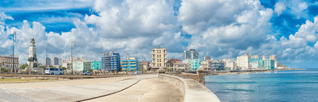 The skyline of Havana  along Malecon avenue photo
