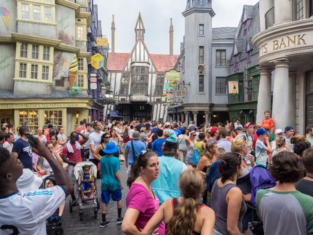harry: Visitors at Diagon Alley near the Harry Potter ride at Universal Studios Florida theme park Editorial