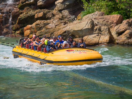 universal: Jurassic Park water  ride at Universal Studios Islands of Adventure theme park Editorial