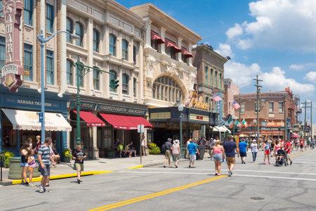 theme park: Shops and restaurants resembling vintage architecture at Universal Studios Florida theme park Editorial