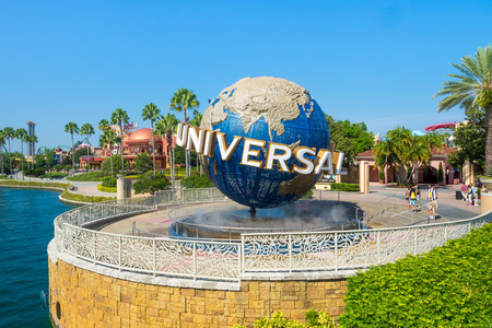 De beroemde Universal Globe bij Universal Studios Florida themapark