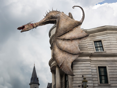 universal: Dragon at Diagon Alley near the Harry Potter ride at Universal Studios Florida theme park Editorial