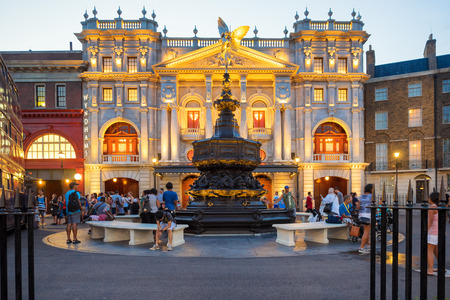 potter: London scene with the Piccadilly Circus fountain near the Harry Potter ride at  Universal Studios Florida theme park Editorial