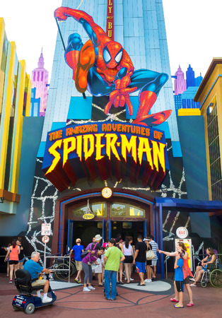 spiderman: Visitors entering the Spiderman ride at Universal Studios Islands of Adventure theme park