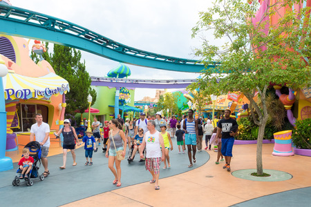 dr: Visitors at the Seuss Landing Area inside Universal Studios Islands of Adventure theme park