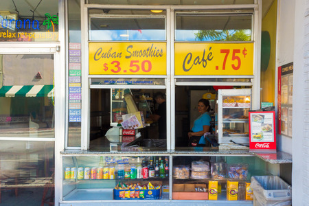 food state: Typical cuban cafe at SW 8th Street, a focal point of the cuban community in Miami Editorial