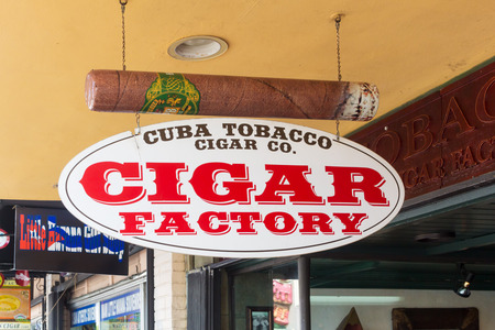focal point: Typical cigar factory at SW 8th Street, a focal point of the cuban community in Miami Editorial